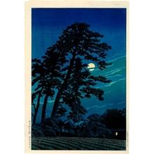 川瀬巴水: Moon at Magome - ホノルル美術館