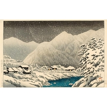 川瀬巴水: In the Snow, Nakayama-shichiri Road, Hida - ホノルル美術館