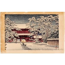 Kawase Hasui: Snow at Zöjö Temple - Honolulu Museum of Art