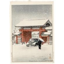 川瀬巴水: Shiba Great Gate in Snow - ホノルル美術館