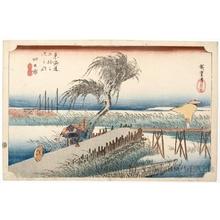 Utagawa Hiroshige: Yokkaichi : The Mie River (station # 44) - Honolulu Museum of Art
