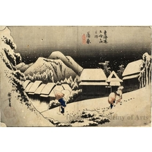 Utagawa Hiroshige: Night Snow at Kambara (Station #16) - Honolulu Museum of Art