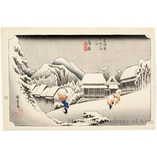 Utagawa Hiroshige: Night Snow at Kanbara (Station #16) - Honolulu Museum of Art