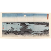 Utagawa Hiroshige: Evening View of Eight Famous Sites at Kanazawa in Musashi Province (Moon) - Honolulu Museum of Art