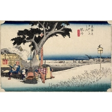 Utagawa Hiroshige: Outdoor Tea Stall at Fukuroi (Station #28) - Honolulu Museum of Art