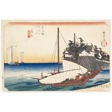 歌川広重: Landing Entry of the Shichiri Ferry at Kuwana (Station #43) - ホノルル美術館