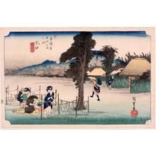 Utagawa Hiroshige: Minakuchi : a Famous Product, Kanpyö (Drying Strips of Gourd) (Station #51) - Honolulu Museum of Art