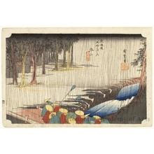 歌川広重: Spring Rain at Tsuchiyama (Station # 50) - ホノルル美術館