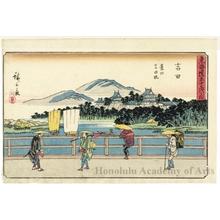 Utagawa Hiroshige: Yoshida Bridge over the Toyo River at Yoshida (Station #35) - Honolulu Museum of Art