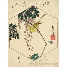 Utagawa Hiroshige: Wisteria and Gold Finch - Honolulu Museum of Art