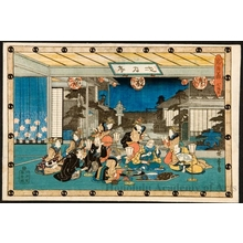 歌川広重: Act 7: The Ichiriki House of Pleasure in the Gion District of Kyoto - ホノルル美術館