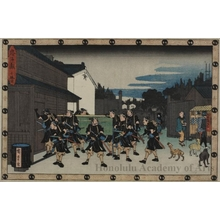 歌川広重: Act l0: A Night Scene outside the House of the Merchant Amakawa-ya Gihei at Sakai - ホノルル美術館