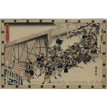 Utagawa Hiroshige: Act 11, Scene 2: Forcing Open the Shuters of Moronao's Castle - Honolulu Museum of Art