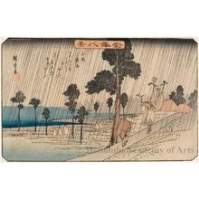 歌川広重: Night Rain at Koizumi - ホノルル美術館