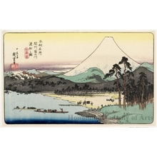 歌川広重: Picture of Ferry Boats on the Fuji River in Suruga Province - ホノルル美術館