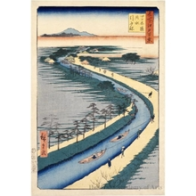 歌川広重: Towboats along the Yotsugi-döri Canal - ホノルル美術館
