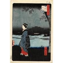 歌川広重: Night View of Matsuchiyama and the San'ya Canal - ホノルル美術館