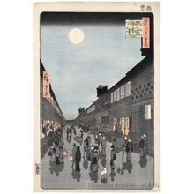 Utagawa Hiroshige: Night View of Saruwaka-machi - Honolulu Museum of Art