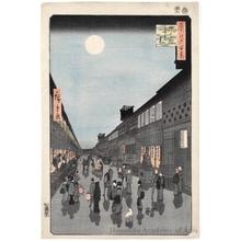 歌川広重: Night View of Saruwaka-machi - ホノルル美術館