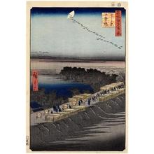 歌川広重: Nihon Embankment, Yoshiwara - ホノルル美術館