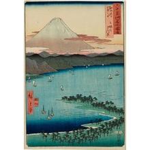 歌川広重: Suruga Province, Miho Pine Grove - ホノルル美術館