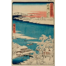 Utagawa Hiroshige: Musashi Province, Sumida River, Snowy Morning - Honolulu Museum of Art