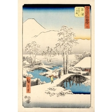 Utagawa Hiroshige: Mt. Fuji and Mt. Ashigara from Numazu in Clear Weather after a Snowfall (Station #13) - Honolulu Museum of Art
