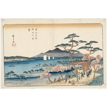 Utagawa Hiroshige: Cherry Trees in Full Bloom along the Sumida River - Honolulu Museum of Art
