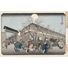 歌川広重: Evening Cherry Blossoms, Yoshiwara Nakanochö - ホノルル美術館