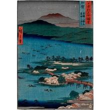 Utagawa Hiroshige: Kaga Province, The Eight Wonders of Kanazawa, The Fishing Fires on Lake Renko - Honolulu Museum of Art