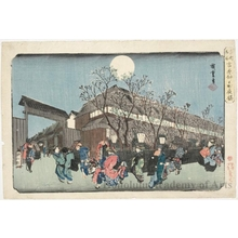 Utagawa Hiroshige: Evening Cherry Blossoms, Yoshiwara Nakanochö - Honolulu Museum of Art