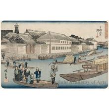 歌川広重: Ferry Crossing Yoroi - ホノルル美術館