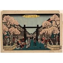 Utagawa Hiroshige: Cherry Blossoms at Yoshiwara Nakanochö - Honolulu Museum of Art