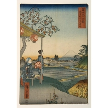 歌川広重: The Teahouse with the View of Mt. Fuji at Zöshigaya - ホノルル美術館