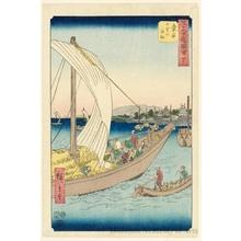 歌川広重: The Seven-ri Ferry Boat Approaching Kuwana (Station #43) - ホノルル美術館