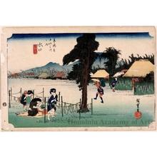 歌川広重: Minakuchi : a Famous Product, Kanpyö (Drying Strips of Gourd) (Station #51) - ホノルル美術館
