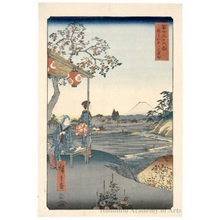 Utagawa Hiroshige: The Teahouse with the View of Mt. Fuji at Zoshigaya - Honolulu Museum of Art