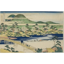 Katsushika Hokusai: Crossing-Moon Bridge at Arashiyama in Yamashiro Province - Honolulu Museum of Art