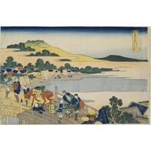 葛飾北斎: Fukui Bridge in Echizen Province - ホノルル美術館