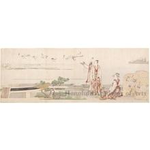 葛飾北斎: Man & Woman Releasing Cranes (descriptive title) - ホノルル美術館