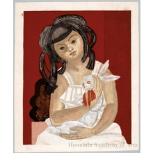 Sekino Junichirö: Girl with rabbit - Honolulu Museum of Art