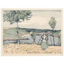 山本鼎: Breton Landscape - ホノルル美術館