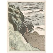 山本鼎: Bather on the Rocks - ホノルル美術館