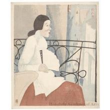 山本鼎: Woman on Balcony - ホノルル美術館