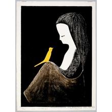河野薫: Young Lady with Yellow Bird - ホノルル美術館