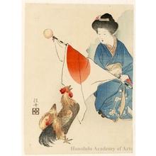 武内桂舟: A Cock Crows - ホノルル美術館