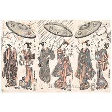 鳥居清廣: Three Scenes of Couples Under a Single Umbrella - ホノルル美術館