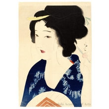 Kaburagi Kiyokata: Young Woman with Fan (Descriptive Title) - Honolulu Museum of Art