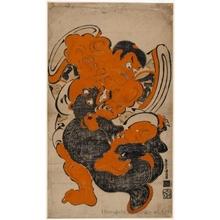 鳥居清倍: Kintoki and a Bear - ホノルル美術館