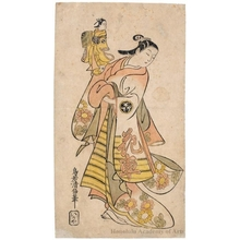 鳥居清倍: An Onnagata Actor Holding the Monnosuke Puppet - ホノルル美術館